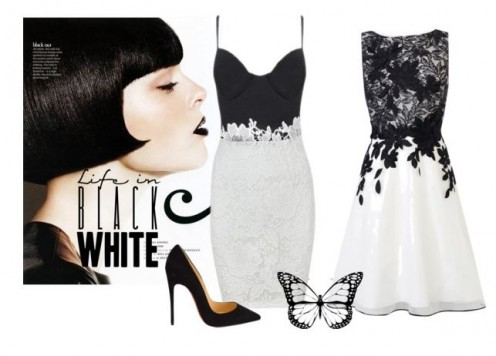 Chic black and white dresses for evening or wedding guest attire.
