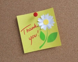 A homemade thank-you gift card adds a personal touch.
