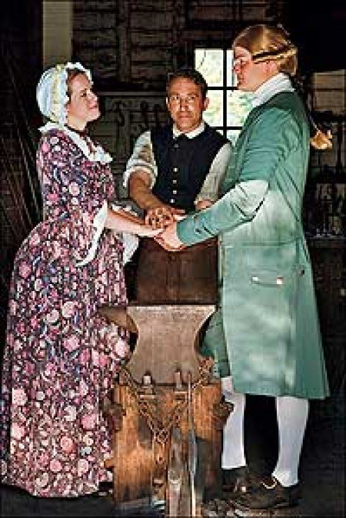 Actors show how a young couple were introduced in the early 1800's.