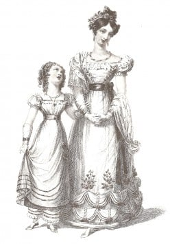 Young girl and ladies' fashion in early 1800.