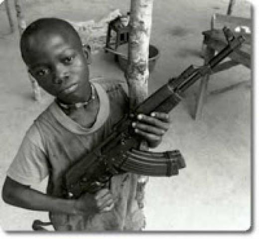 Child soldier with gun