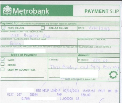 Fully-furnished Metrobank Payment Slip (Image from hubber)