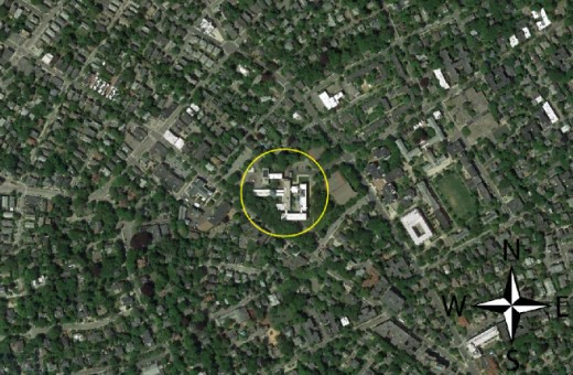 The only 'rational' oriented building in this area is the Harvard Observatory - it is oriented to true North. It is denoted by the circle. But why is it oriented like this? This way of orienting takes more space and is more expensive.