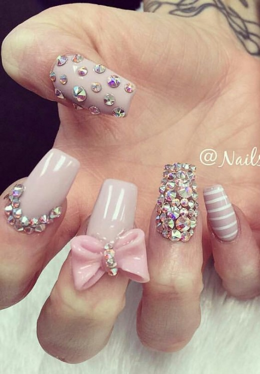Rhinestone Bow Nails | Cute Valentines Day Nail Art Ideas for Teens