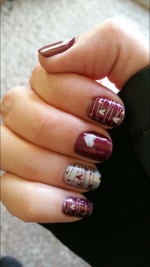 Silver Hearts |  | Cute Valentines Day Nail Art Ideas for Teens