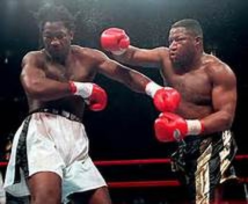 Ray Mercer, right, lands a right hand on Lennox Lewis. Mercer lost a close decision to the three time heavyweight champion.