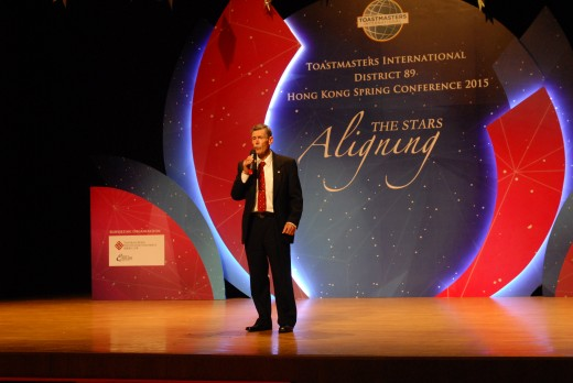 This was the Hong Kong, Macau, South China Toastmasters International District Conference held at the Jockey Club Auditorium in the Polytechnic University in Hong Kong in May 2015.