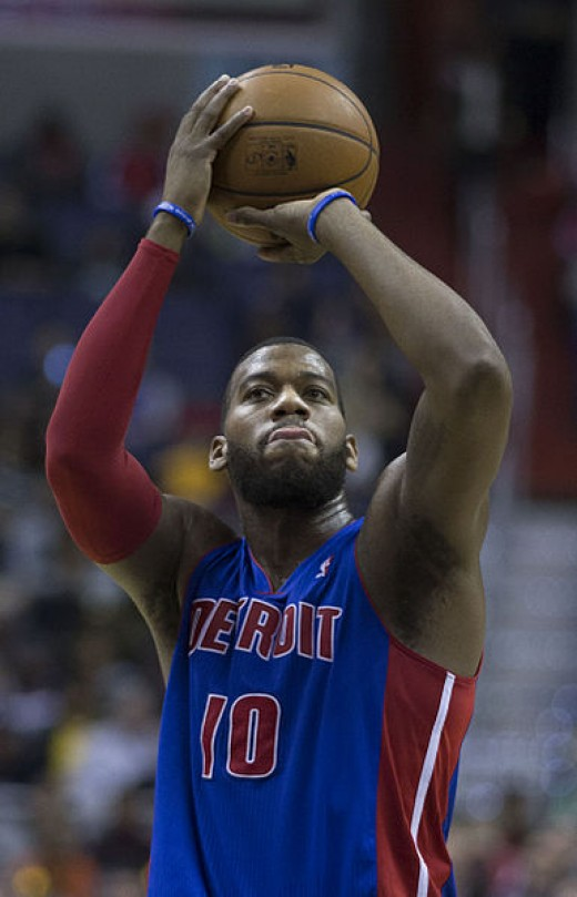 Greg Monroe when he played with the Detroit Pistons