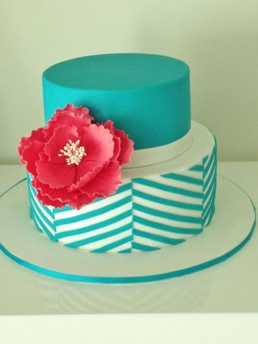 Blue and Flower Cake