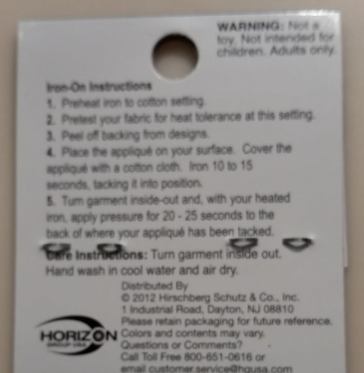 Read the directions for how long to apply the iron and what temperature to use.