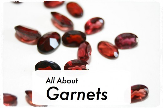 Oval-cut garnets in light to dark shades.