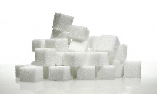 The Average American Eats 19.5 teaspoons of sugar every day.  There are about 20 sugar cubes in this picture.  Now, that's scary.