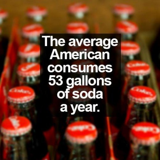 The average American drinks between 44 and 53 gallons of soda every year