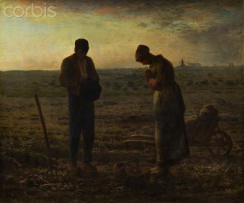 The Angelus (Prayer)  by Jean-François Millet portrays humbleness in the man in this painting. And humbleness is one thing that most all girls appreciate.