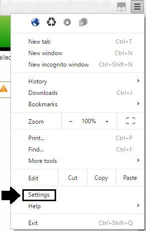 "Select ""Settings"" from the drop down menu."