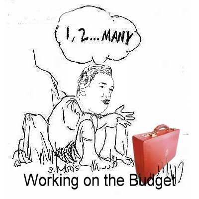 Cartoon of George Osborne working on the budget which will feature more proposed cuts to public spending no doubt.