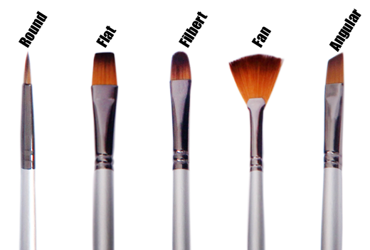 Various types of paint brushes best suited for acrylic painting
