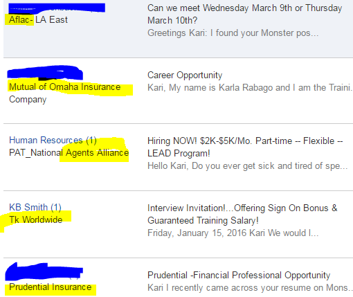 No, I am not interesting in insurance sales or financial adviser positions, thank you!