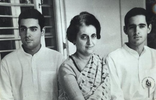 Indira Gandhi with sons Rajiv (left) and Sanjay (right)