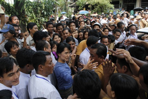 Aung San Suu Kyi greeting supporters from Bago Region on 14 August 2011.