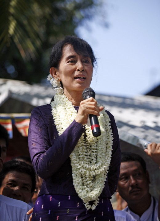 Aung San Suu Kyi gives speech to supporters at Hlaing Thar Yar Township in Yangon, Myanmar on 17 November 2011.