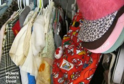 Tops, bags and hats arranged neatly in a closet.