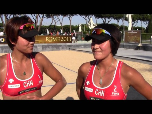 Xue Chen and Xi Zhang in Rome Italy in 2011 at the World Championships.