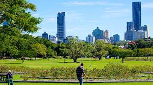 This is another photo of New Farm Park, again with its open spaces, and Brisbane city in the background. The shrubs you see in the foreground are plants of roses, but unfortunately this photo was taken at the wrong time to show the flowers.
