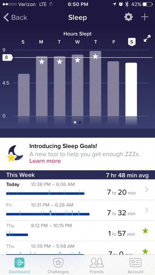 My FitBit tracks my sleep each night. What is really cool is just after a week I felt that I was able to get batter sleep!