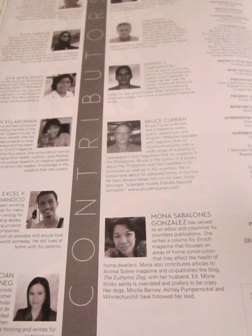 My picture and bio as a columnist with Enrich Magazine