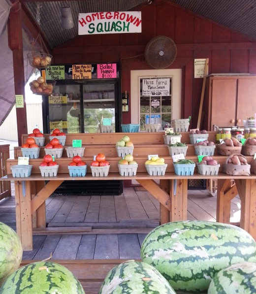 Believe it or not, in the city a few miles from my small town, this fruit and vegetable stand has a sign saying they are on the honor system.  Just take what you want and place your money in the designated spot!