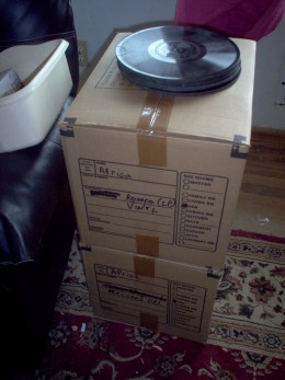 All packed up, with odd looking records left out.