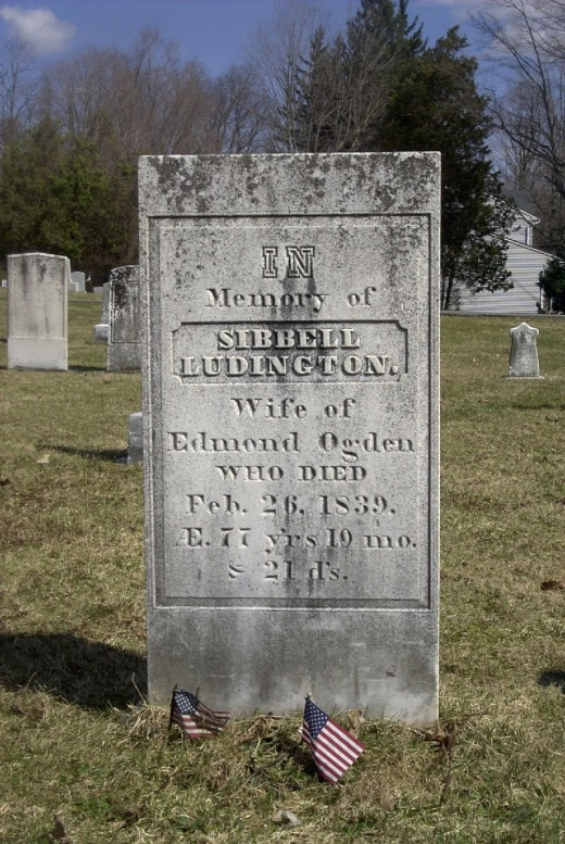 Sybil Ludington's grave (first name misspelled) in Patterson, NY