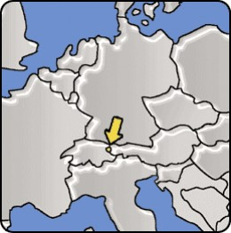 Map of Liechtenstein between Switzerland and Austria