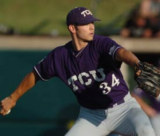 Jake Arrieta with the TCU Horned Frogs.