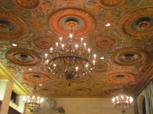 In the lobby and ballroom of Hotel DuPont are beautifully displayed crystal chandeliers.