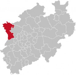 Map of Kreis Kleve, a District of North Rhine-Westphalia (NRW), Germany