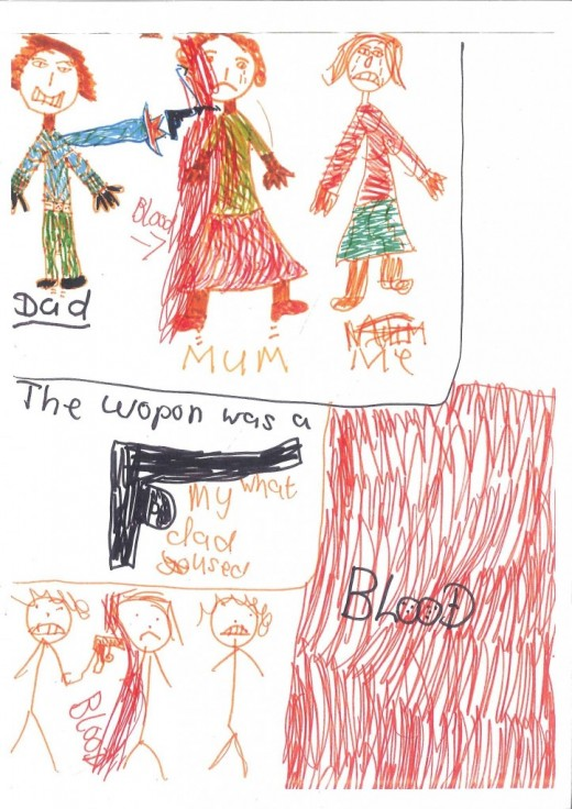 Kids may illustrate what they have witnessed if they cannot express themselves verbally.