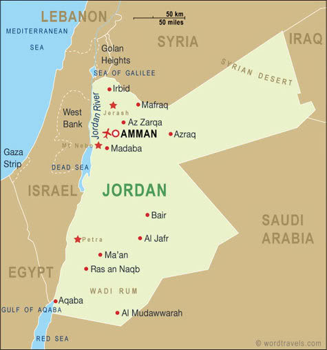 Map of Jordan:  Camps there housing Syrian refugees.