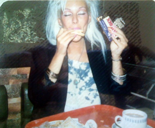 Me in my youth, eating chips and several chocolate bars at a motorway service station at about 2am, on the way home from seeing a band in another town.