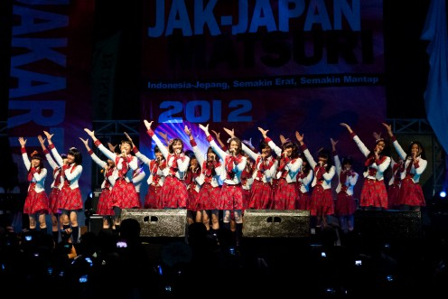 Girl group JKT48 is seen here on stage during a concert back in 2012.