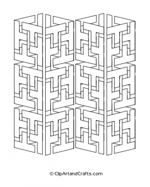Complicated 3D Geometric Design Coloring Sheet, Interlocking Segments