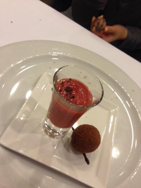 Amuse.  Berry Gazpacho and Mushroom Fritter.