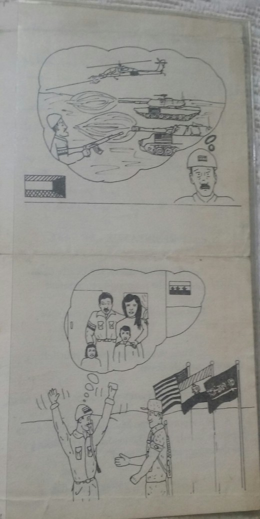 Pictorial instructions on flyers dropped over Iraq prior to ground troops going inside ...