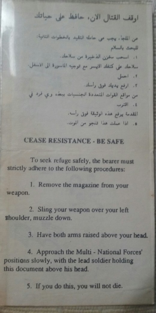 CEASE RESISTANCE -- BE SAFE  ............ Do this and you will not die