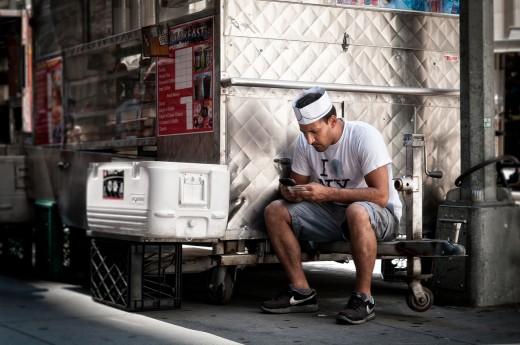 A mechanic waiting for customers.