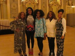 "My sister and I along with our daughters and her granddaughter prancing around in the beautiful ""Gold Ballroom,"" where beautiful wedding receptions are held."