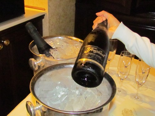 Two bottles of Champagne, awaited us upon the return to our suites after dinner and dancing in the ballroom.