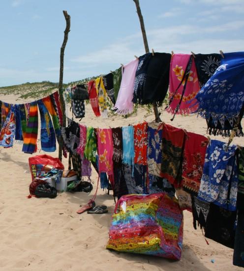 Sarongs on the beach.