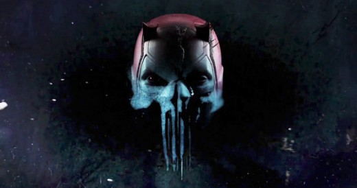 The Daredevil mask tainted with the Punisher icon